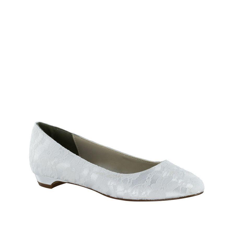 Women's Touch Ups Yvette Lace Flat White Size 8    NCM2Y-M58 3c0d6b