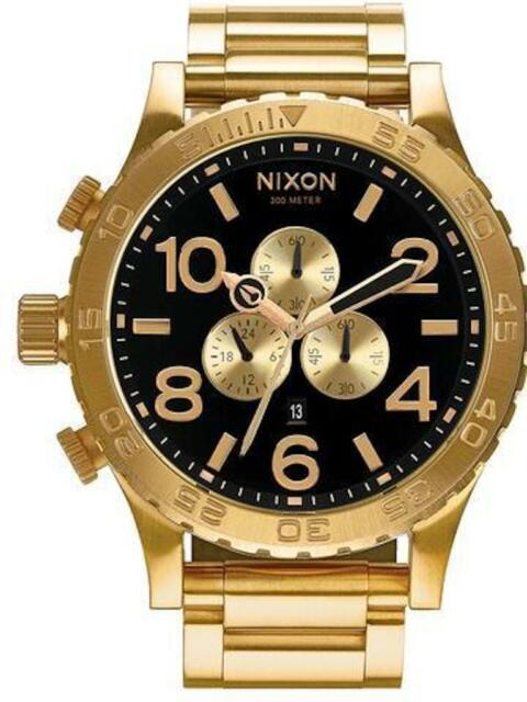 64a2677bbbc632 Nixon Watch Mens Womens 51-30 Chrono Rose Gold With Black Face 51mm Unisex