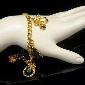 Vintage-Christmas-Charm-Bracelet-Rhinestone-Tree-Bells-Bird-Heart-Statement