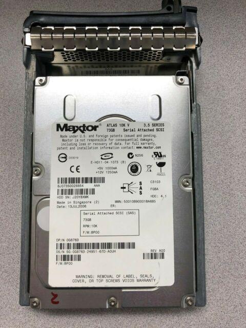 "0G8763 73GB 3.5/"" 10K SAS HDD Maxtor Atlas 10K 0G8763 W//TRAY"