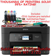 Epson WF-3720 CHIPLESS Sublimation Printer Bundle with CISS Kit, Sub Ink & Paper