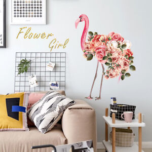 Flamingo-with-Flowers-Wall-Stickers-Wardrobe-Decal-Bar-Window-Art-Deco-TDO