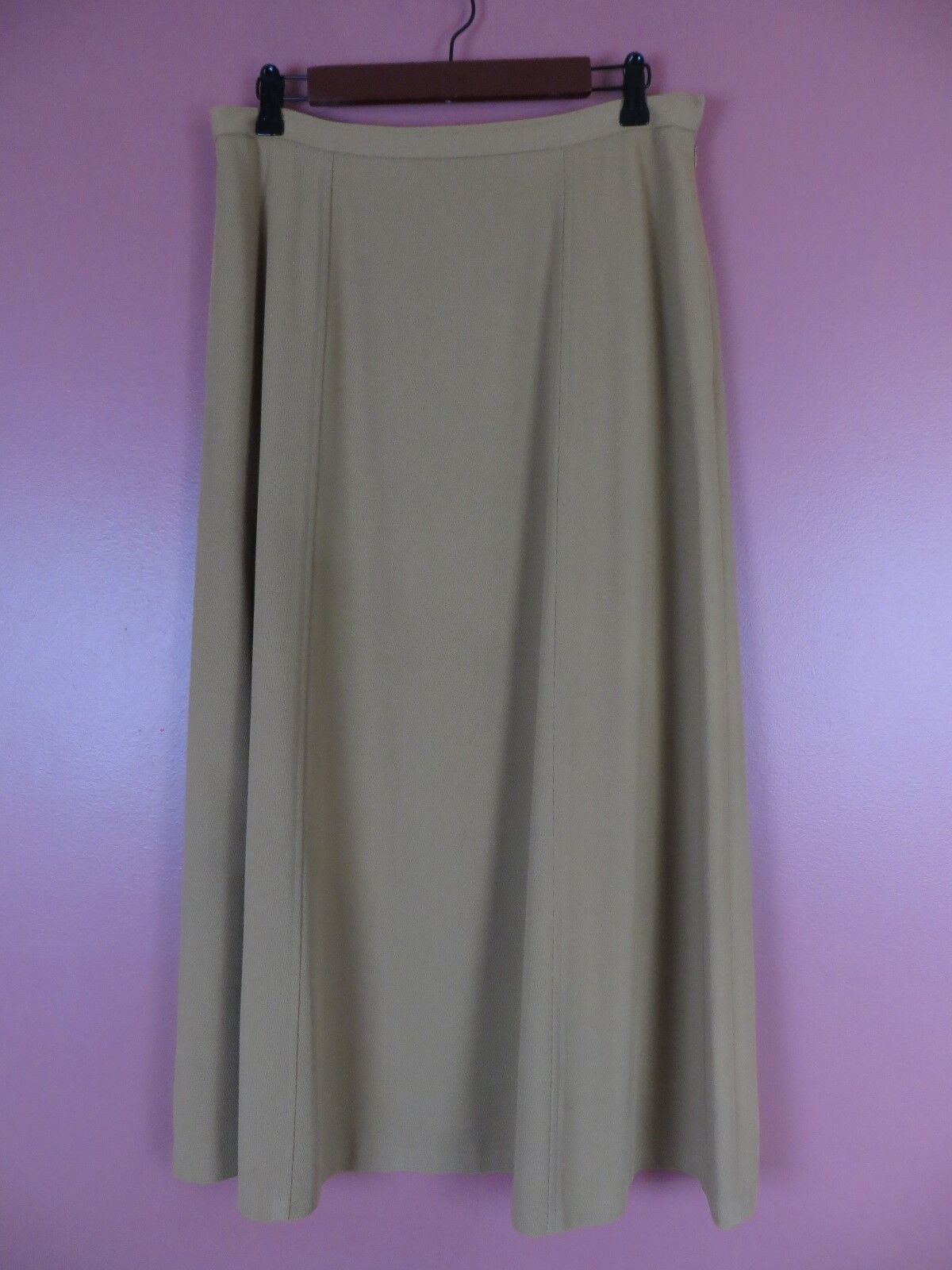 SK11769- JONES WEAR 65% Polyester Paneled Flared Full Skirt Gallant gold Sz 14