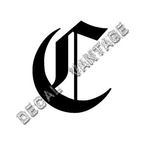 Old-English-C-Letter-Initial-Vinyl-Sticker-Decal-Font-Diploma-Choose-Size-amp-Color