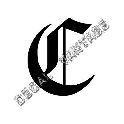 Old English C Letter Initial Vinyl Sticker Decal Font