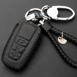 3-Buttons-Leather-Remote-Fob-Keychain-Holder-Case-For-Toyota-Prado-Camry-2018