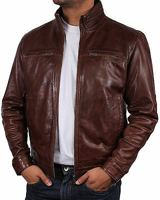 Men Leather Biker jacket   Leather Bomber Jacket Coat   men leather motor jacket