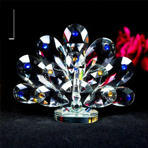 PEACOCK-CRYSTAL-ORNAMENTS-CRYSTOCRAFT-BEAUTIFUL-MULTY-COLOURS-HOME-DECORS-NEW-UK