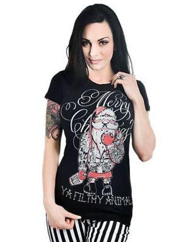 Too Fast Babydoll Tattooed Santa Punk Rock Skull T Shirt S-Xl Wtbd-T-Tsanta