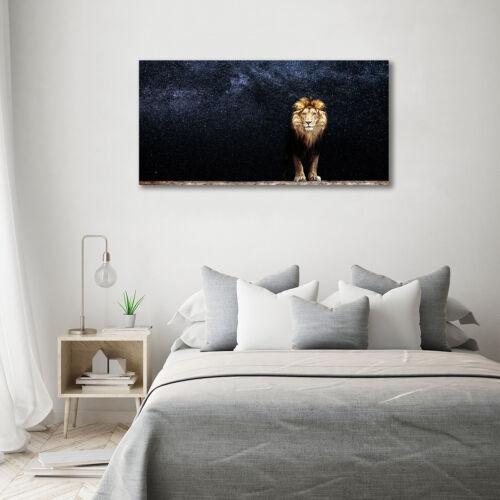 Glas-Bild Wandbilder Druck auf Glas 140x70 Deko Tiere Löwe Sterne