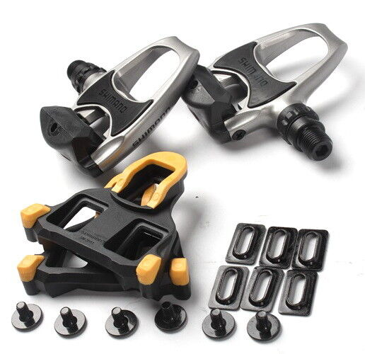 MEROCA Road Bike Pedals Clipless Aluminum With SPD Locking Plate 6° Cleats 1Pair