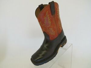 ARIAT-Workhog-Orange-Brown-Leather-Western-Cowboy-Boots-Youth-Size-1