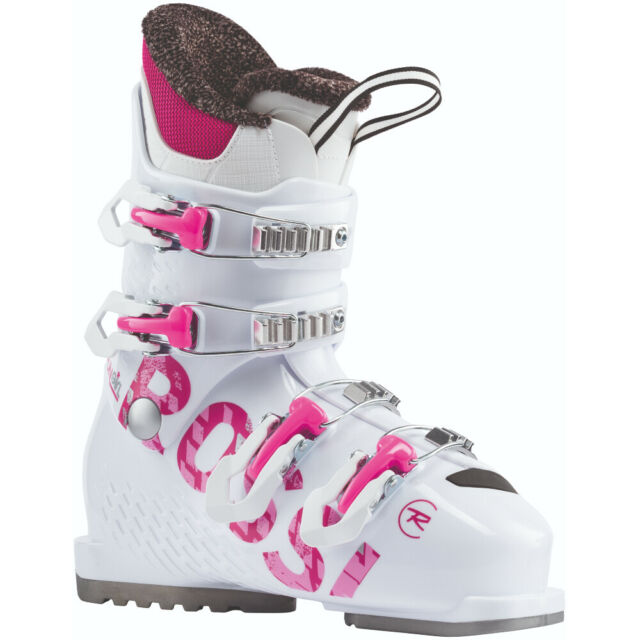Rossignol Fun Girl Downhill Alpine Ski BOOTS 4 Buckle Jr 25 25.5 Big Girls 8 8.5 for sale online