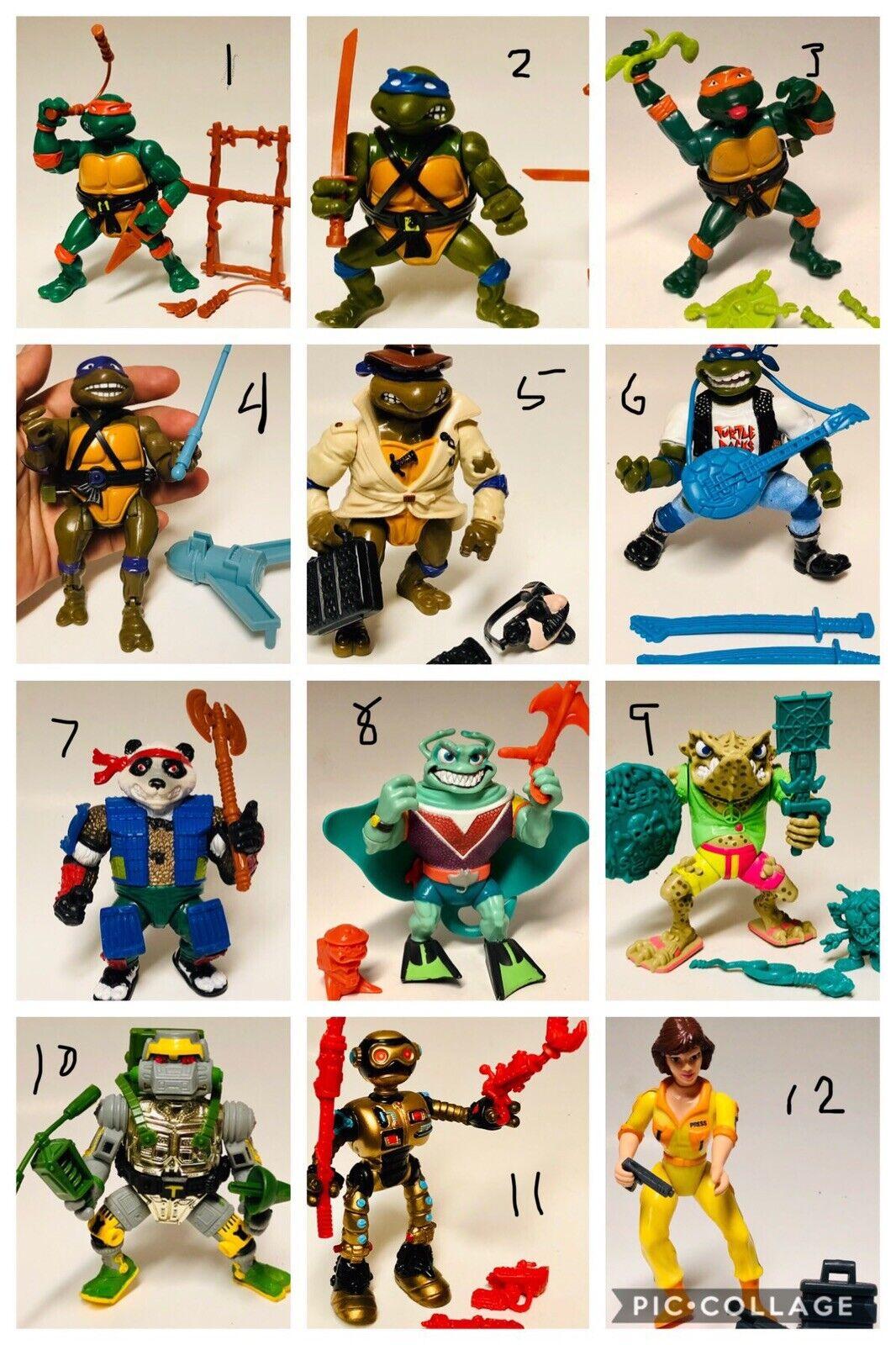 12 Vintage Playmates Teenage Mutant Ninja Turtle Figures & Weapons Fr. d 80's