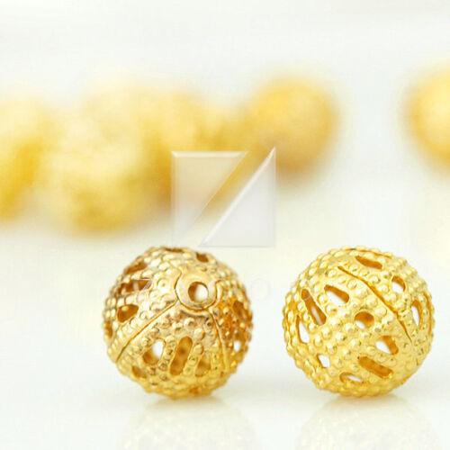 Redondo Oro 6mm//8mm espaciador de la fabricación de joyas plata Cuentas de metal de 65//70//145//160 un