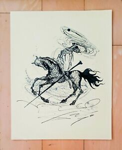SALVADOR DALI AUTHENTIC - QUIJOTE - INK ON PAPER HAND DRAWING