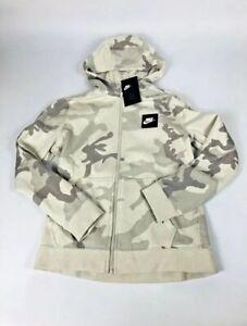 Youth Nike Camouflage Full Zip Hoodie Grey Gray White AQ5772 072 Jacket Camo