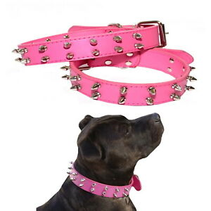 Large-Dog-Collar-Hot-Pink-Leather-Studded-Narrow-Staffy-Stud-Spiked-Pet