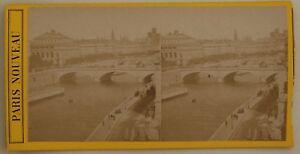 Parigi-La-Senna-Vista-Generale-Francia-Foto-Stereo-L44-Vintage-Albumina-c1870