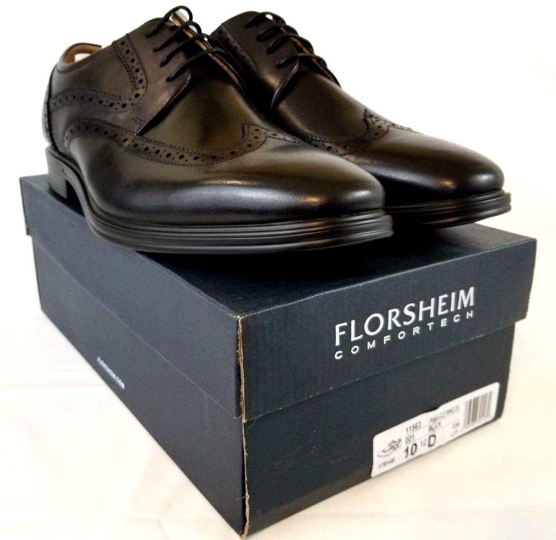 Florsheim Hombre Cuero Negro Pinnacle punta del ala Oxford Zapatos US 10.5 Z478