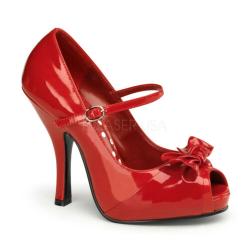 PLEASER PIN-UP COUTURE CUTIEPIE-08 PEEP-TOE BOW STILETTO MARY-JANE SHOES