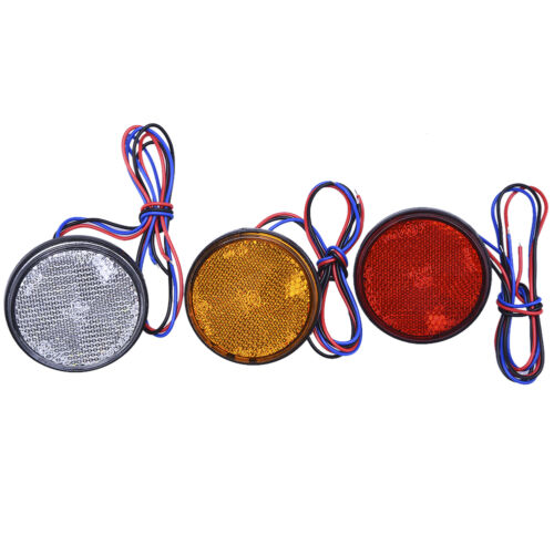 24 LED Motorcycle Round Reflector Tail Brake Turn Signal Light Lamp 3 colors