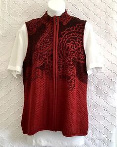 Coldwater-Creek-Size-M-Wool-Blend-Paisley-Zip-Vest-Knit-Sweater-Red-Black