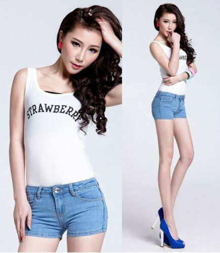 NEW WOMEN/'S VINTAGE RETRO LOW RISE STONEWASH BLUE  DENIM SHORTS HOT PANTS