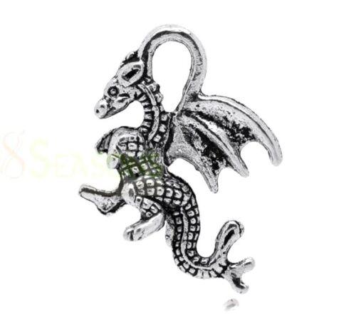 10 Pcs Tibetan Silver Winged Dragon Charm 21mm Jewellery Craft Pendant Q154