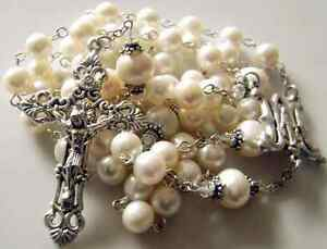 White-AAA-Real-Pearl-GIFT-Rosary-Cross-Necklace-Box-STERLING-SILVER-FATHER-BEADS