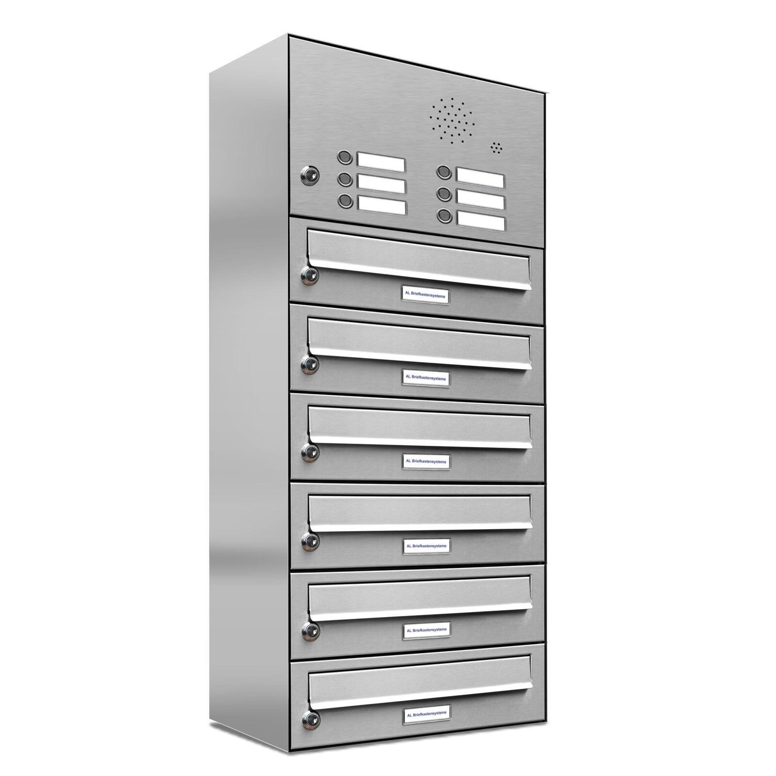 6er Premium Edelstahl Briefkasten Anlage mit Klingel 6 Fach Postkasten Wand