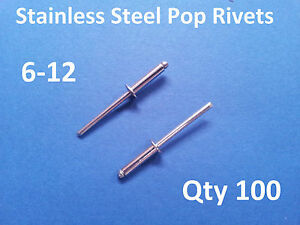 100-POP-RIVETS-STAINLESS-STEEL-BLIND-DOME-6-12-4-8mm-x-23-5mm-3-16-034
