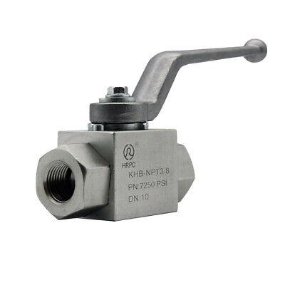Hydraulic High Pressure Shut-Off Ball Valve 2 Way 3//8 Inch NPT 7250 PSI KHB Hydraulic Valve