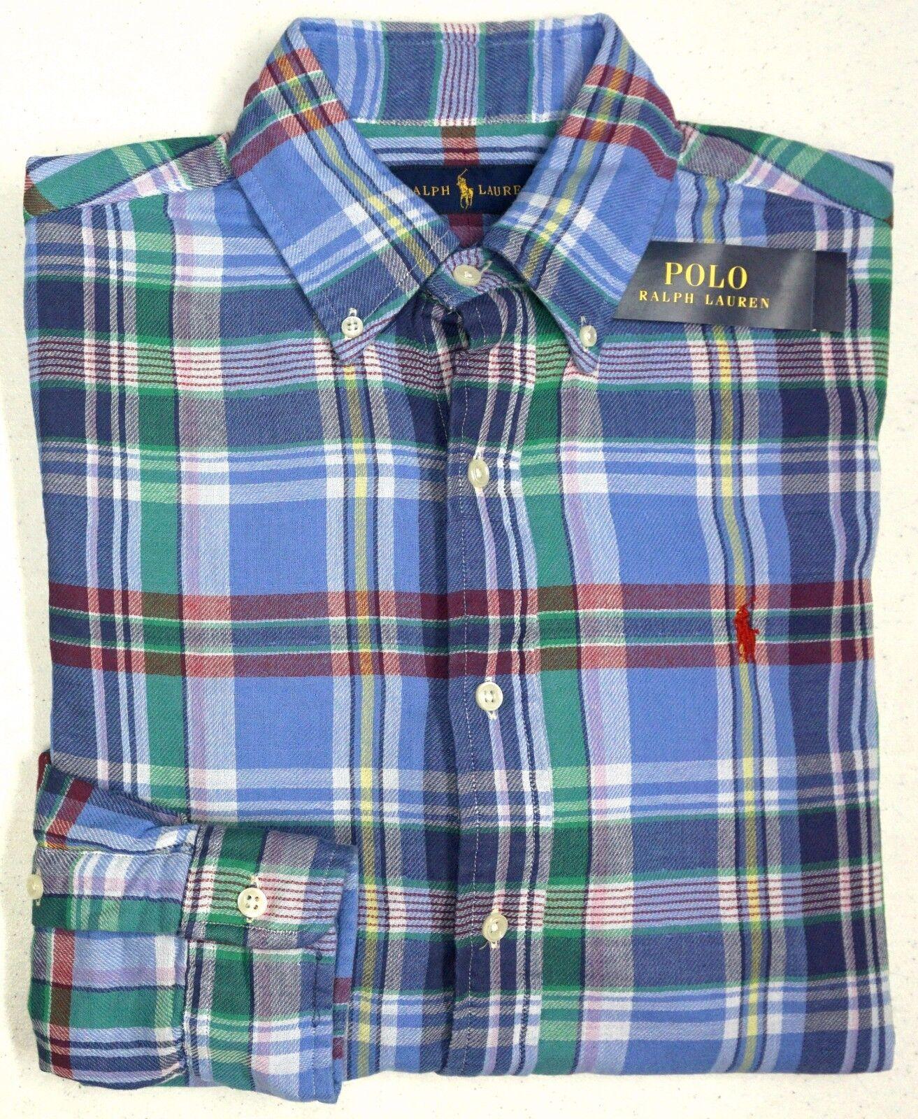 386b604b8 Polo Ralph Lauren LS Mens S L XL bluee Red Plaid Button NEW NWT Shirt  ndtnts1043-Casual Button-Down Shirts