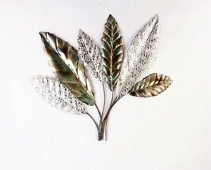 Details About Metal Wall Art Feather Silver Decor Indoor Outdoor