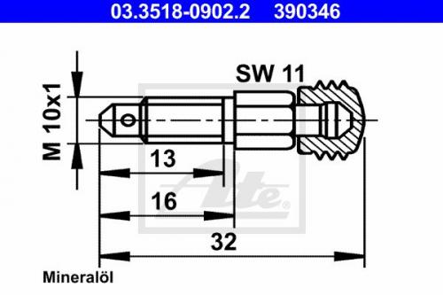 Entlüfterschraube/-ventil für Normteile ATE 03.3518-0902.2