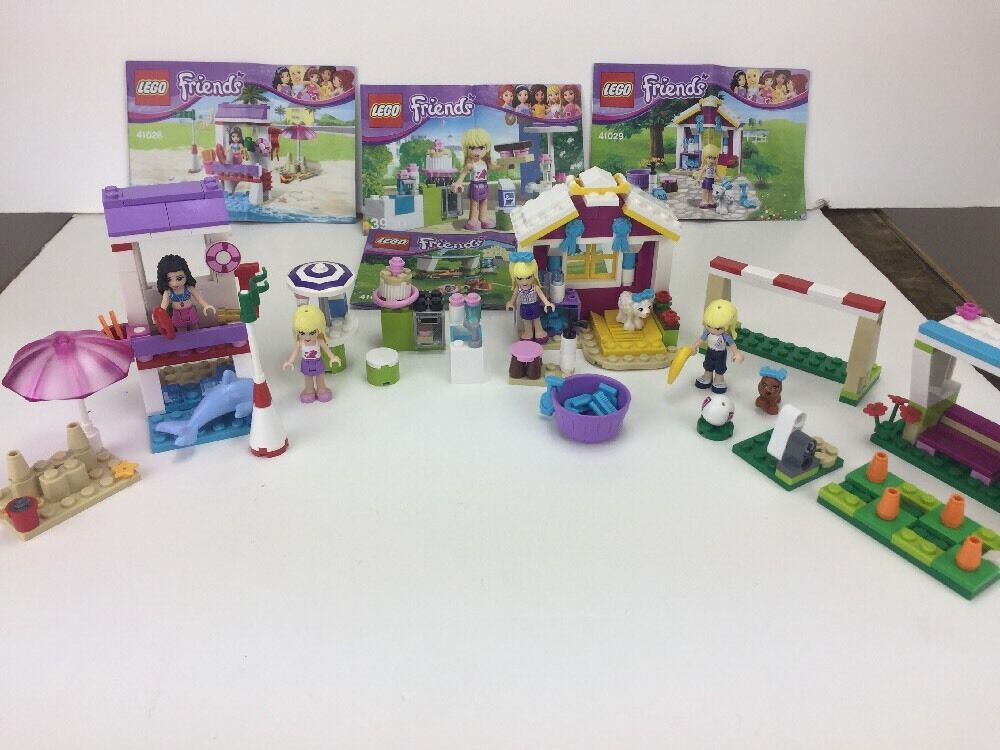 Lego Friends 3930, 41011, 41028. 41029 Stephanie's Poodle, Bakery, Emma Soccer