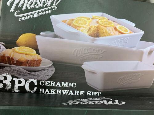 Mason Craft And More 3 Piece White Ceramic Bakeware White ~New In Box~