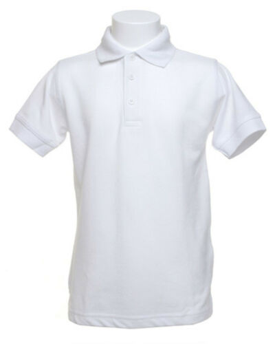 Tamanho 11-12 Kustom Kit KK406 Branco Childrens Kids Camisa Polo Gola polialgodão