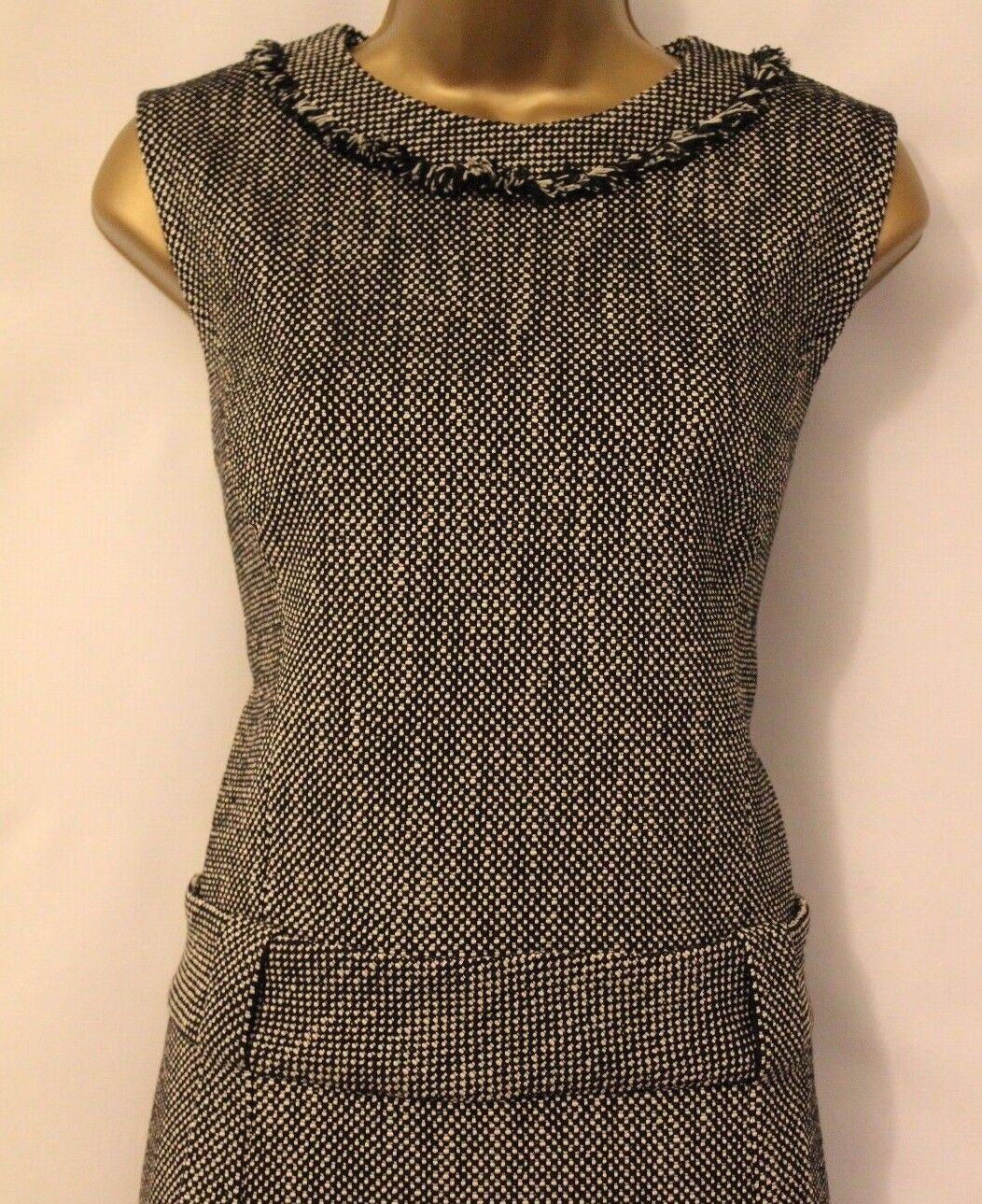Karen Millen Tailored Tweed Wide Drop Waist Shift Smart Fringe Fringe Fringe Wool Dress 8 36 5bed4b