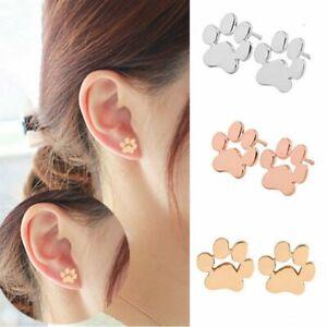 Women-Dog-Paw-Print-Earrings-Silver-Ear-Studs-Fashion-Tiny-Cute-Jewelry-Gifts