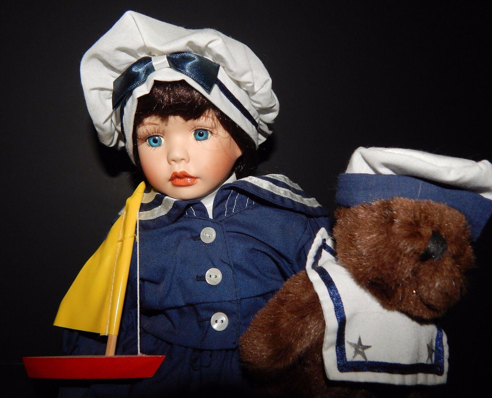 Heritage Signature Collection Sailor Doll Teddy Bear Sailboat blu bianca Dress