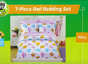 Details About 7pc Full Pbs Kids Cute Owl Comforter Bedding Set Sheets Youth S Bed In A Bag