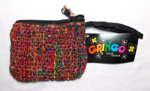 GRINGO FAIR Trade Borsetta di seta seta fatti da riciclato Sari Hippy Boho Hippie