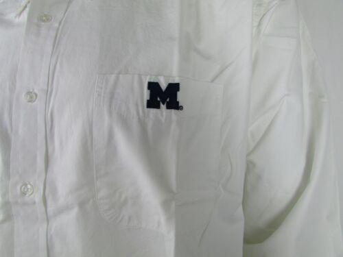 Michigan Wolverines Men 2XL White Button Oxford Dress Shirt Embroidered NCAA