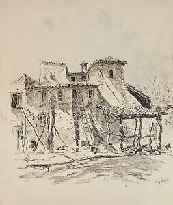 MAISON RURALE. DESSIN À L'ENCRE ET AQUARELLE SUR PAPIER. A. GUERIN. CIRCA 1940.