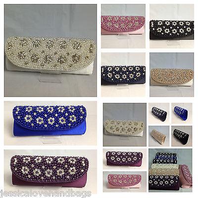 UK Box Style Crystal Beaded Satin Bridal Evening Handbag CLUTCH PURSE 1181