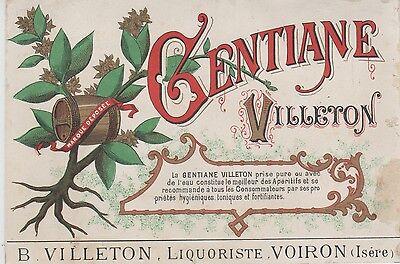 """gentiane Villeron B. Villeton Voiron"" Etiquette-chromo Originale Fin1800"