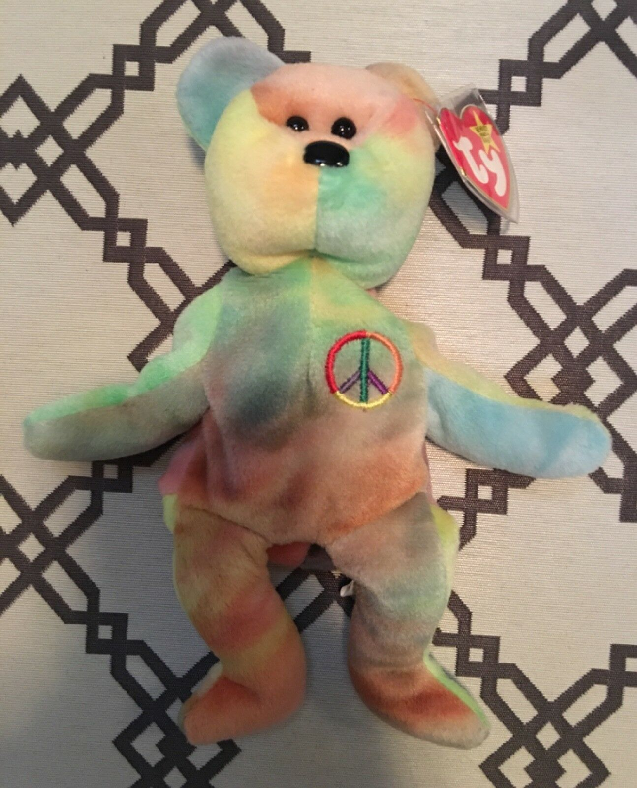 EXTREMELY RARE ERRORS  TY Beanie Babies Peace Bear Retired with Tag PVC Pellets