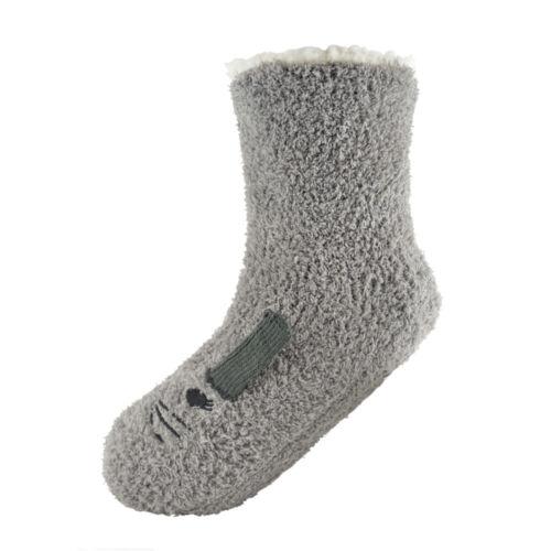 Ladies Bobble Fleece Sherpa Lined Cute Animal Slipper Socks One Size UK 4-7
